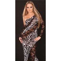 GLAMOROUS DIVA EVENING DRESS ONE-ARMED DRESS BLACK/WHITE