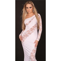 GLAMOROUS DIVA EVENING DRESS ONE-ARMED DRESS WHITE
