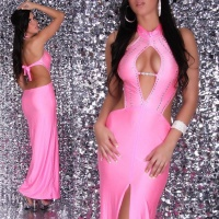 GLAMOROUS DIVA EVENING DRESS WITH RHINESTONES FUCHSIA