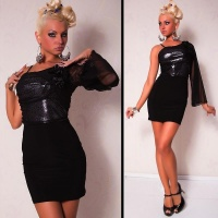 ELEGANT ONE-ARMED EVENING DRESS MINIDRESS BLACK/SILVER