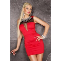 NOBLE GLAMOUR EVENING DRESS MINIDRESS WITH CHIFFON RED