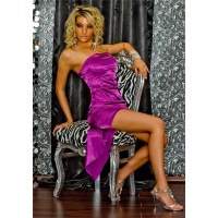 GLAMOROUS BANDEAU EVENING DRESS PURPLE Onesize (UK 8,10,12)