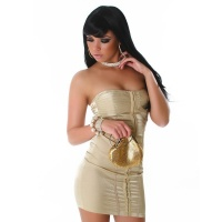 ELEGANT GLAMOUR CORSAGE DRESS BANDEAU DRESS GOLD