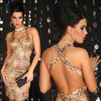 SEXY GLAMOUR SHEATH DRESS LEOPARD