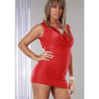 PRECIOUS GLAMOUR MINIDRESS WITH RHINESTONE-CHAIN RED