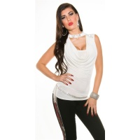 NOBLE GLAMOUR HALTERNECK TOP WITH COWL-NECK WHITE