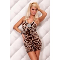 SEXY GLAMOUR MINIDRESS WITH RHINESTONES LEOPARD