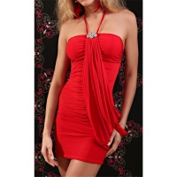 SEXY GLAMOUR HALTERNECK MINIDRESS WITH RHINESTONES RED