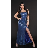 GLAMOUR SEQUINED DRESS BANDEAU EVENING DRESS BLUE