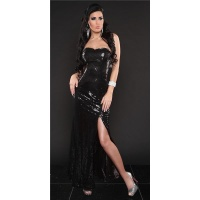 GLAMOUR SEQUINED DRESS BANDEAU EVENING DRESS BLACK