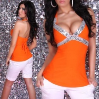 EDLES GLAMOUR PAILLETTEN-TOP ORANGE