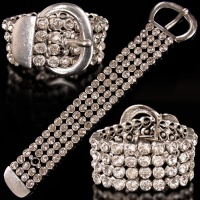 EDLES GLAMOUR STRASS PARTY-ARMBAND SCHMUCK SILBER