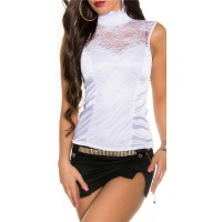 NOBLE GLAMOUR TOP MADE OF SATIN WITH LACE AND ZIPPER WHITE UK 12 (M)