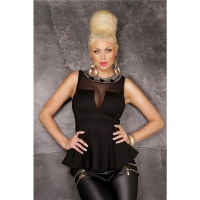EXTRAVAGANT GLAMOUR TOP WITH CHIFFON AND METAL BEADS BLACK UK 14 (L)
