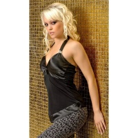 PRECIOUS GLAMOUR TOP WITH SATIN + RHINESTONES BLACK