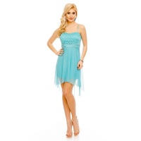 NOBLE SHORT EVENING DRESS WITH TULLE AND LACE MINT GREEN