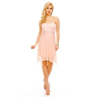 NOBLE SHORT EVENING DRESS WITH TULLE AND LACE PINK