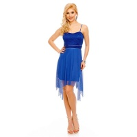 NOBLE SHORT EVENING DRESS WITH TULLE AND LACE ROYAL BLUE