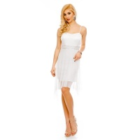 NOBLE SHORT EVENING DRESS WITH TULLE AND LACE WHITE