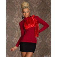 PRECIOUS LONG-SLEEVED BLOUSE-SHIRT WITH SATIN RED Onesize (UK 8,10,12)