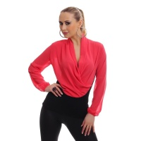 ELEGANT LONG-SLEEVED CHIFFON SHIRT IN WRAP-LOOK CORAL/BLACK