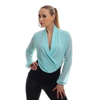 ELEGANT LONG-SLEEVED CHIFFON SHIRT IN WRAP-LOOK MINT GREEN/BLACK Onesize (UK 8,10,12)