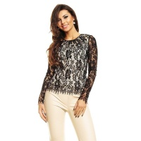NOBLE LACE SHIRT BLOUSE WITH LONG SLEEVES BLACK/CREAM