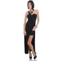 EDLES LANGES ONE-SHOULDER ABENDKLEID MIT STRASS SCHWARZ