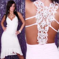PRECIOUS LATINO DRESS WITH RHINESTONES WHITE Onesize (UK 8,10,12)