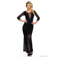 NOBLE MAXI EVENING DRESS MADE OF LACE WITH MESH BLACK