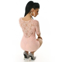 SEXY MINIDRESS MADE OF PRECIOUS LACE APRICOT UK 14