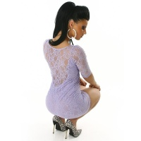 SEXY MINIDRESS MADE OF PRECIOUS LACE LILAC UK 10