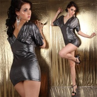 SEXY SHINY GLAMOUR MINIDRESS WITH RHINESTONE CHAIN SILVER