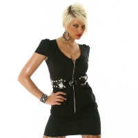 SEXY MINIDRESS WITH LACQUER-BELT BLACK