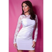 PRECIOUS MINIDRESS WITH LACE WHITE