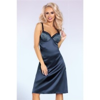 NOBLE SATIN CHEMISE NIGHTGOWN WITH FINE LACE INCL. THONG...