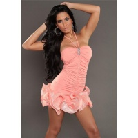 ELEGANT PARTY EVENING DRESS MINI DRESS WITH FRILLS SALMON