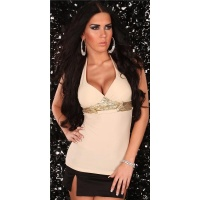 PRECIOUS HALTERNECK TOP WITH SEQUINS BEIGE UK 8/10