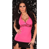 PRECIOUS HALTERNECK TOP WITH SEQUINS FUCHSIA