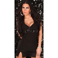 PRECIOUS HALTERNECK TOP WITH SEQUINS BLACK UK 8/10