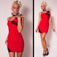 ELEGANT ONE-SHOULDER EVENING DRESS MINIDRESS RED/BLACK