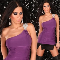 SEXY ONE-SHOULDER LONG TOP PURPLE UK 10/12 (M/L)