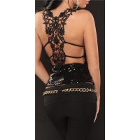 PRECIOUS SEQUINED TOP WITH EMBROIDERY BLACK Onesize (UK 8,10)