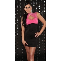PRECIOUS PARTY MINIDRESS WITH LACE RHINESTONES BLACK/FUCHSIA