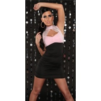 PRECIOUS PARTY MINIDRESS WITH LACE RHINESTONES BLACK/PINK