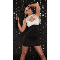 PRECIOUS PARTY MINI DRESS WITH LACE RHINESTONES BLACK/WHITE