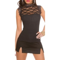 PRECIOUS RIB-KNITTED TOP WITH FINE LACE AND STAND-UP...