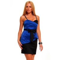 SEXY SATIN EVENING DRESS SHEATH DRESS WITH LACE BLACK/BLUE