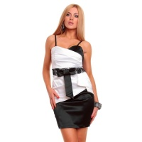 SEXY SATIN EVENING DRESS SHEATH DRESS WITH LACE BLACK/WHITE