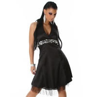 PRECIOUS SATIN EVENING DRESS WITH GLASS STONES BLACK